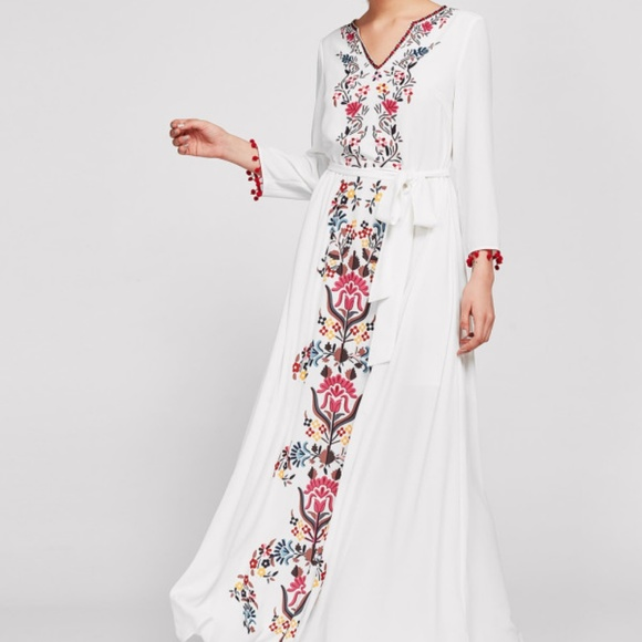 bfdd83de23 SHEIN Dresses | White Flowing Maxi Boho Flower Print Dress | Poshmark